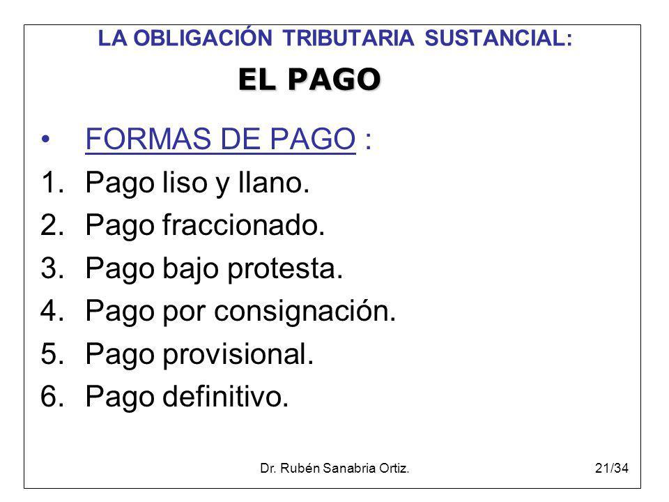 Dr. Rubén Sanabria Ortiz.21/34 LA OBLIGACIÓN TRIBUTARIA SUSTANCIAL: FORMAS DE PAGO : 1.Pago liso y llano. 2.Pago fraccionado. 3.Pago bajo protesta. 4.