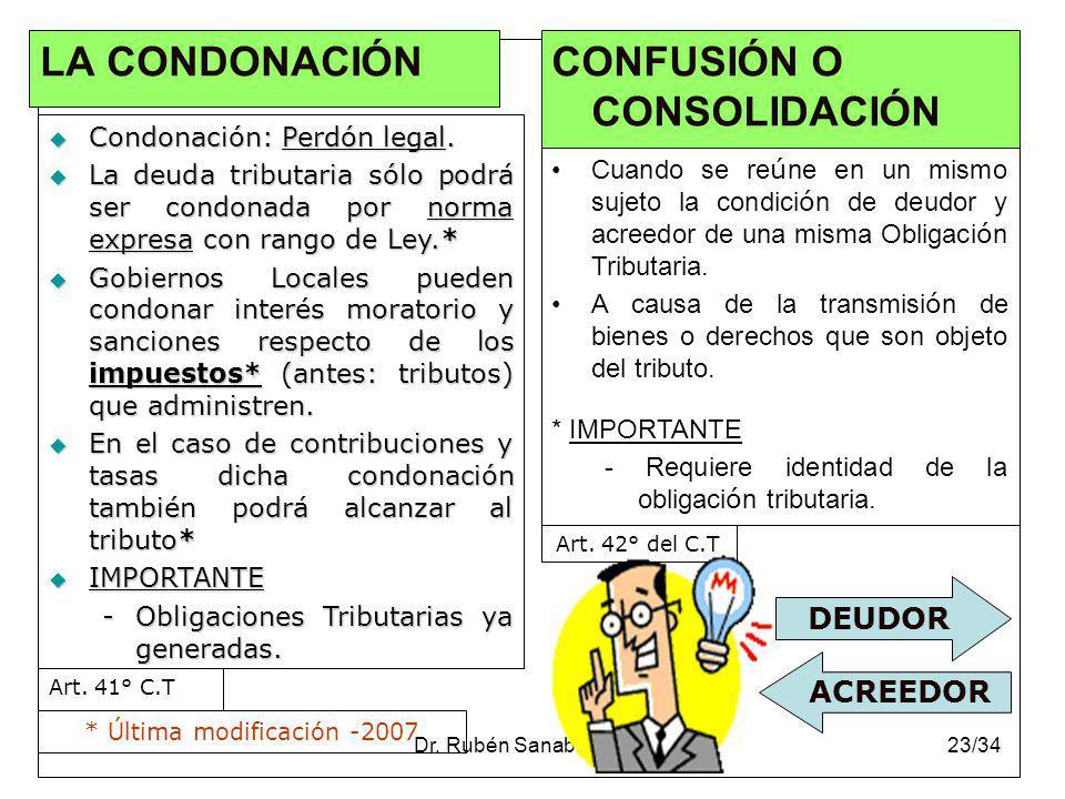 Dr. Rubén Sanabria Ortiz.23/34 LA CONDONACIÓN Condonación: Perdón legal. Condonación: Perdón legal. La deuda tributaria sólo podrá ser condonada por n