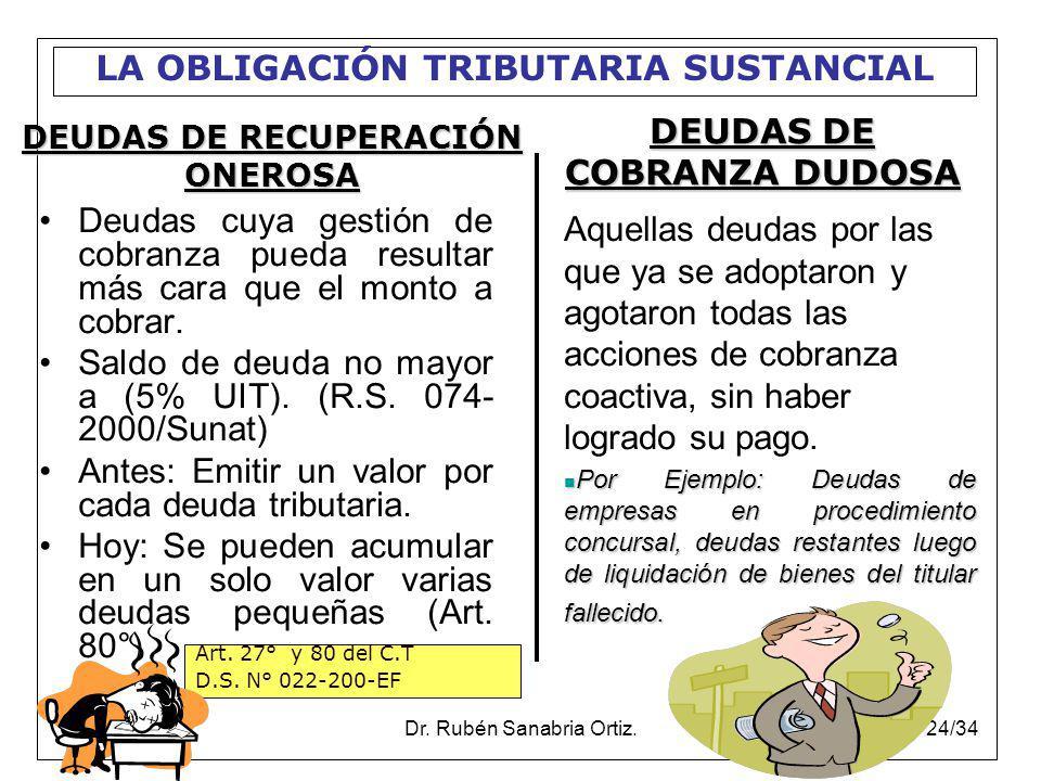 Dr. Rubén Sanabria Ortiz.24/34 Deudas cuya gestión de cobranza pueda resultar más cara que el monto a cobrar. Saldo de deuda no mayor a (5% UIT). (R.S