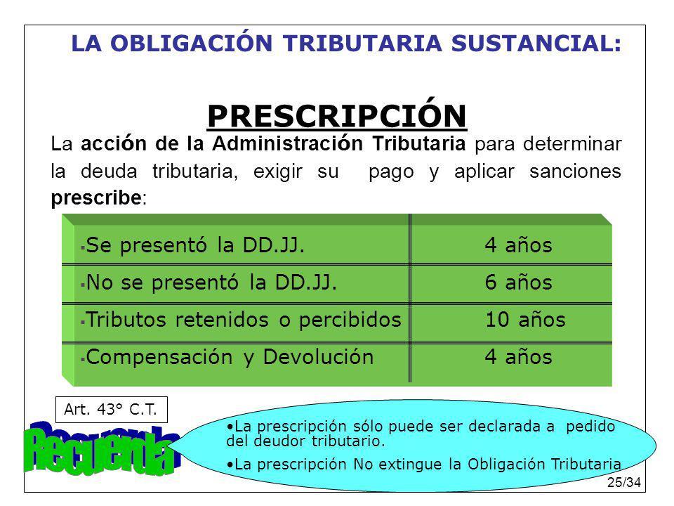 Dr. Rubén Sanabria Ortiz. 25/34 PRESCRIPCIÓN La acci ó n de la Administraci ó n Tributaria para determinar la deuda tributaria, exigir su pago y aplic
