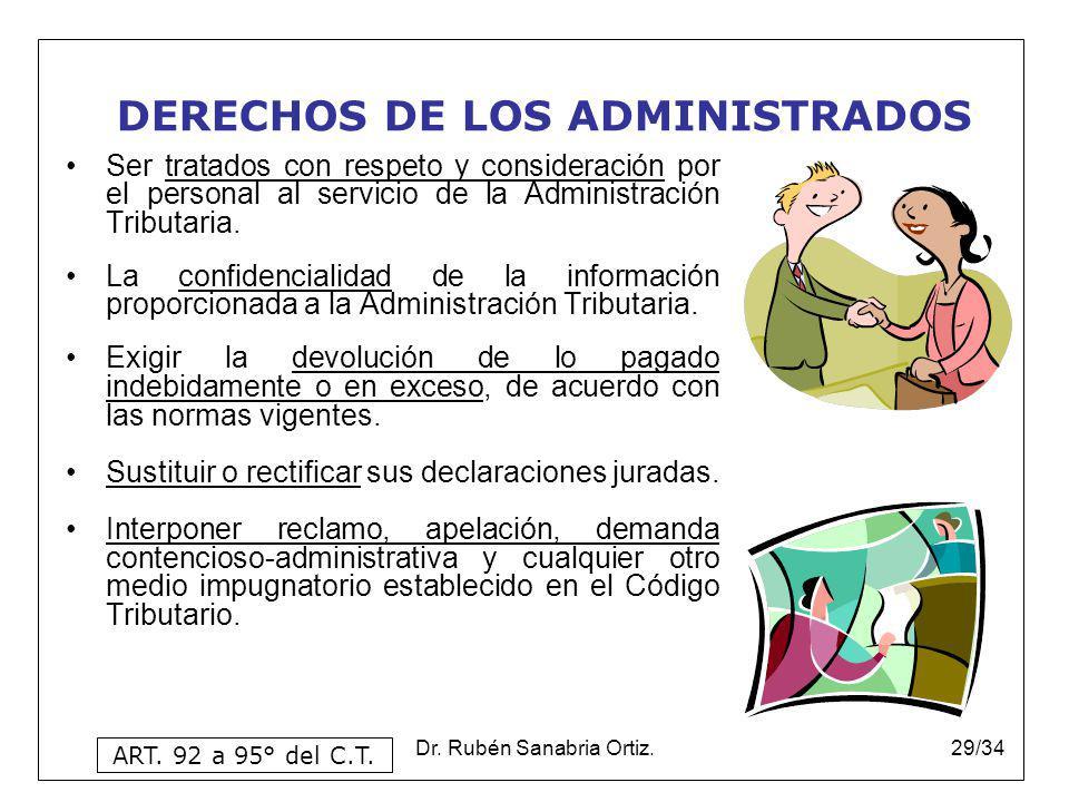 Dr. Rubén Sanabria Ortiz.29/34 DERECHOS DE LOS ADMINISTRADOS Ser tratados con respeto y consideración por el personal al servicio de la Administración