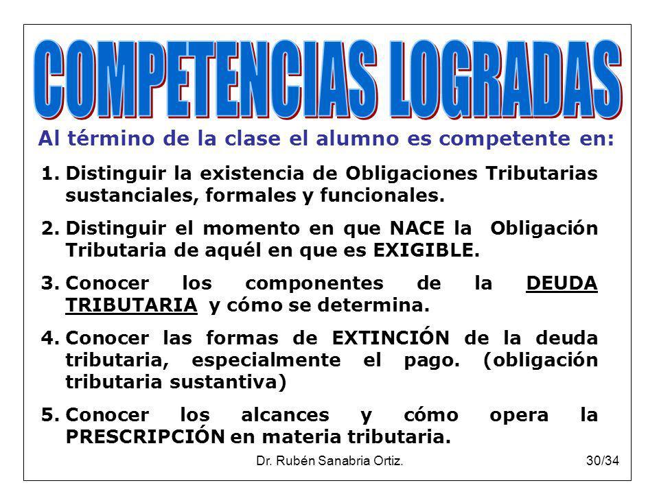 Dr. Rubén Sanabria Ortiz.30/34 Al término de la clase el alumno es competente en: 1.Distinguir la existencia de Obligaciones Tributarias sustanciales,
