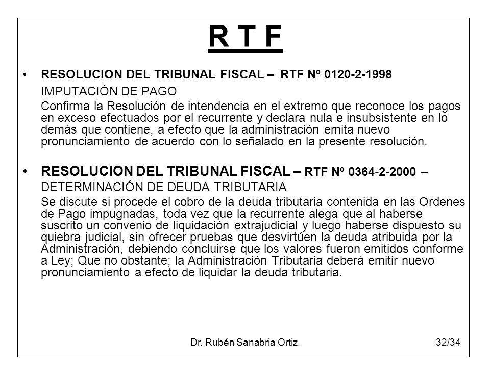 Dr. Rubén Sanabria Ortiz.32/34 R T F RESOLUCION DEL TRIBUNAL FISCAL – RTF Nº 0120-2-1998 IMPUTACIÓN DE PAGO Confirma la Resolución de intendencia en e