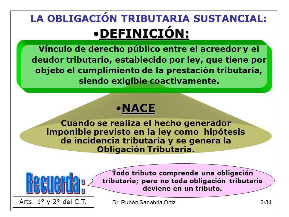 Dr. Rubén Sanabria Ortiz.6/34 LA OBLIGACIÓN TRIBUTARIA SUSTANCIAL: NACE Arts. 1° y 2° del C.T. Cuando se realiza el hecho generador imponible previsto