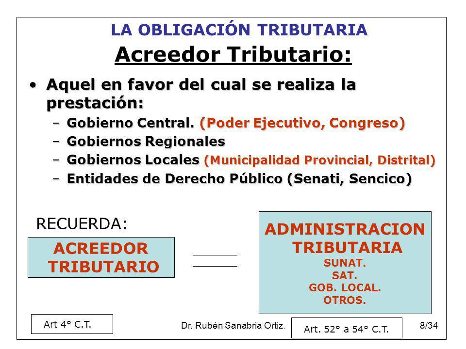 Dr. Rubén Sanabria Ortiz.8/34 Aquel en favor del cual se realiza la prestación:Aquel en favor del cual se realiza la prestación: –Gobierno Central. (P