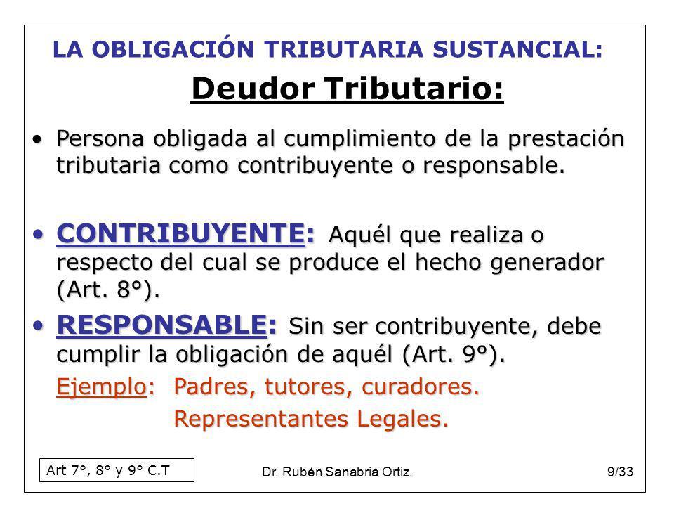 Dr. Rubén Sanabria Ortiz.9/33 Persona obligada al cumplimiento de la prestación tributaria como contribuyente o responsable.Persona obligada al cumpli
