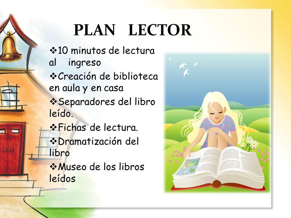 PLAN LECTOR 10 minutos de lectura al ingreso Creación de biblioteca en aula y en casa Separadores del libro leído. Fichas de lectura. Dramatización de
