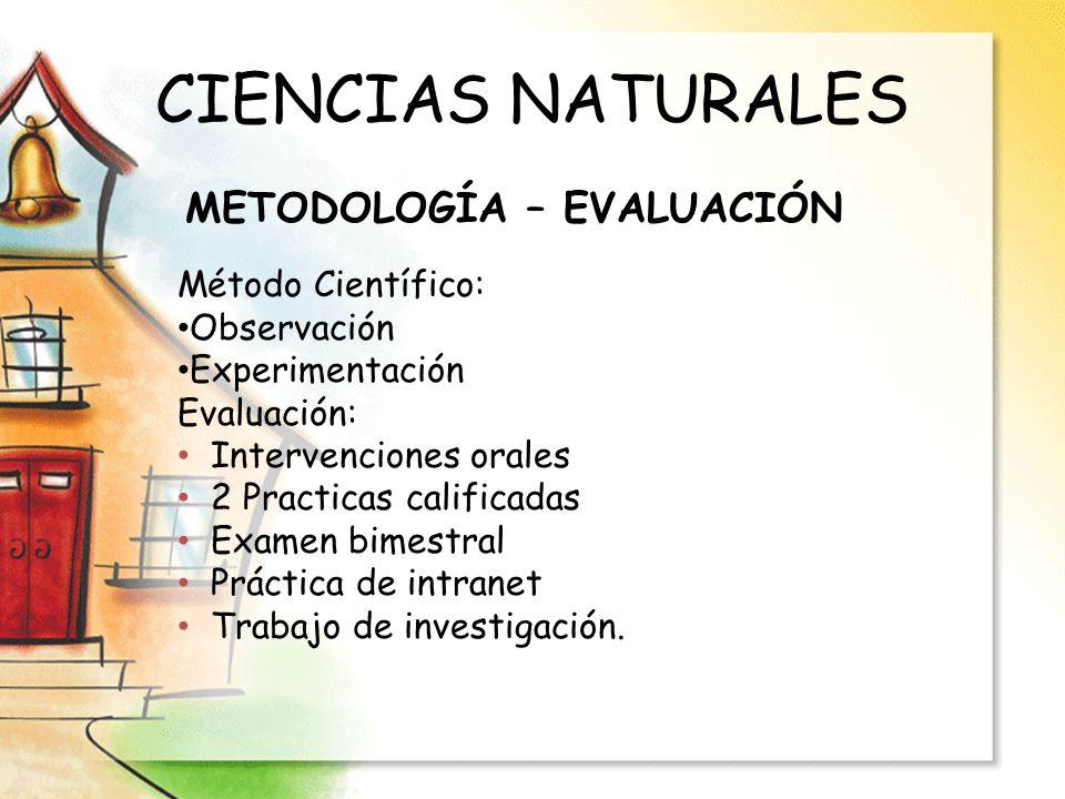 CIENCIAS NATURALES METODOLOGÍA – EVALUACIÓN Método Científico: Observación Experimentación Evaluación: Intervenciones orales 2 Practicas calificadas E