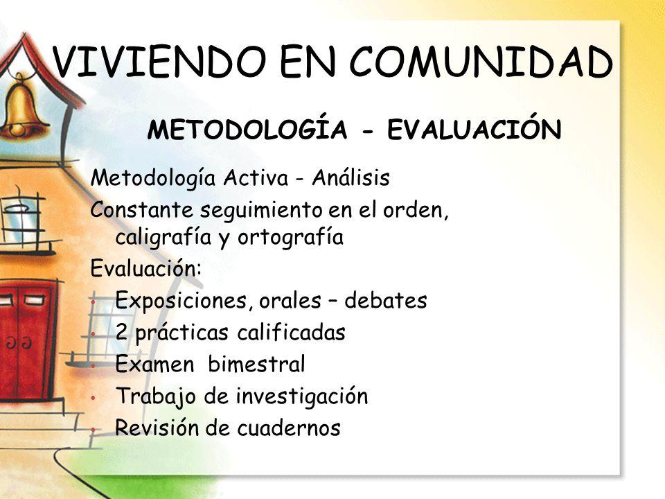 VIVIENDO EN COMUNIDAD METODOLOGÍA - EVALUACIÓN Metodología Activa - Análisis Constante seguimiento en el orden, caligrafía y ortografía Evaluación: Ex