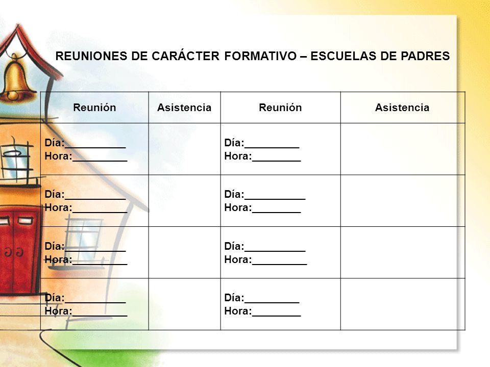 REUNIONES DE CARÁCTER FORMATIVO – ESCUELAS DE PADRES ReuniónAsistenciaReuniónAsistencia Día:__________ Hora:_________ Día:_________ Hora:________ Día: