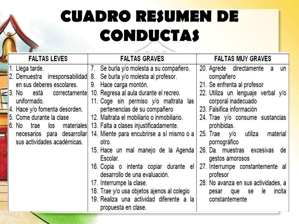 CUADRO RESUMEN DE CONDUCTAS