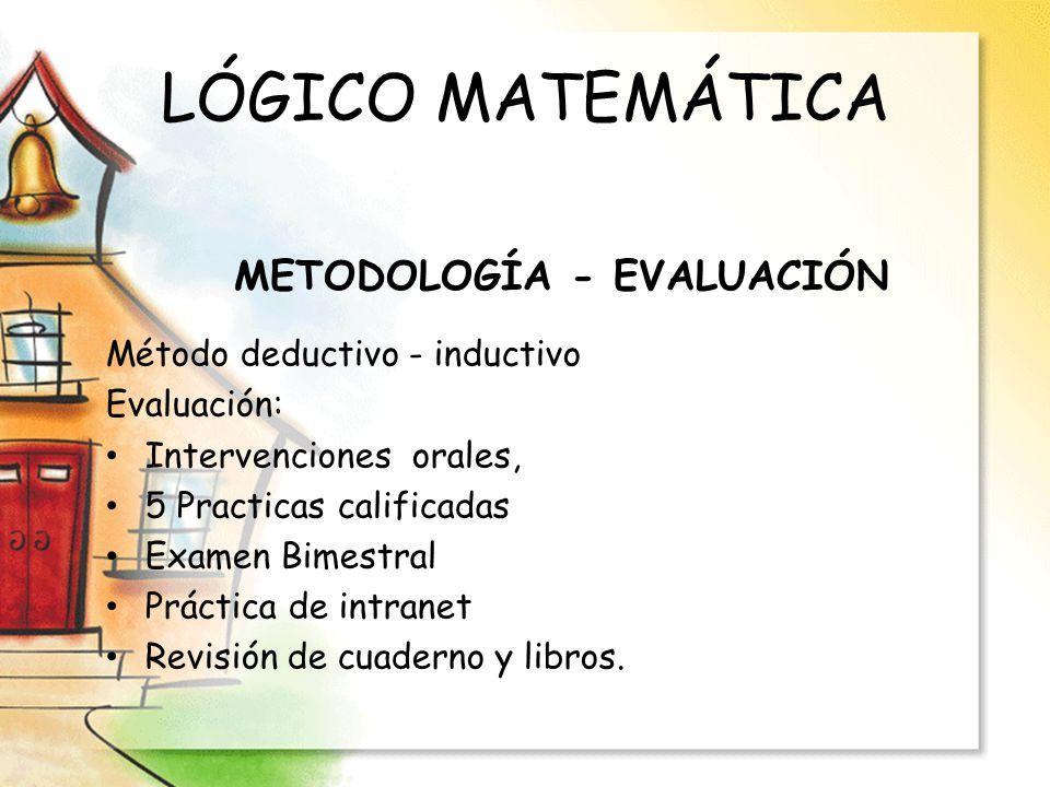 LÓGICO MATEMÁTICA Método deductivo - inductivo Evaluación: Intervenciones orales, 5 Practicas calificadas Examen Bimestral Práctica de intranet Revisi