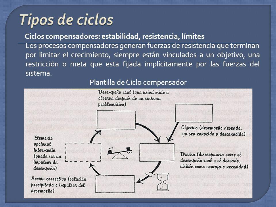 Ciclos compensadores: estabilidad, resistencia, límites Los procesos compensadores generan fuerzas de resistencia que terminan por limitar el crecimie