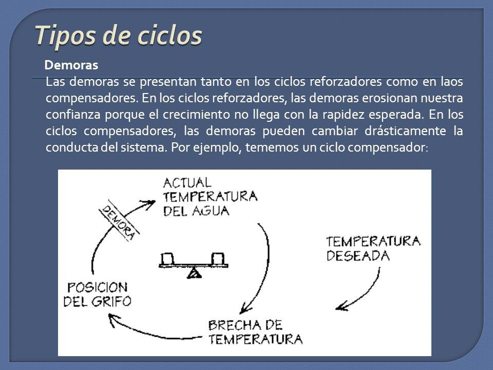 Demoras Las demoras se presentan tanto en los ciclos reforzadores como en laos compensadores. En los ciclos reforzadores, las demoras erosionan nuestr