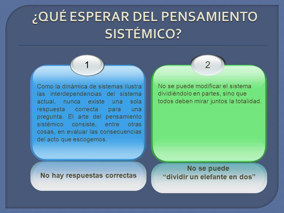 No hay respuestas correctas 1 Como la dinámica de sistemas ilustra las interdependencias del sistema actual, nunca existe una sola respuesta correcta