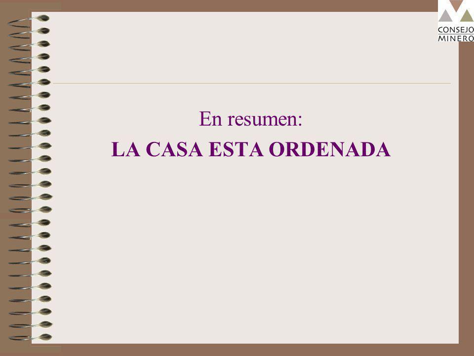 En resumen: LA CASA ESTA ORDENADA