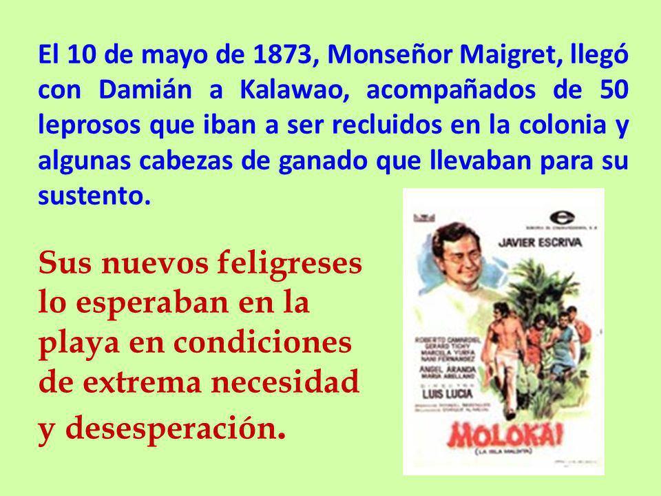 El 10 de mayo de 1873, Monseñor Maigret, llegó con Damián a Kalawao, acompañados de 50 leprosos que iban a ser recluidos en la colonia y algunas cabezas de ganado que llevaban para su sustento.