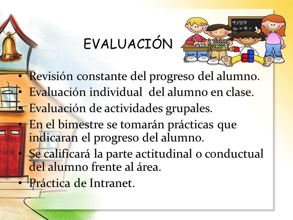 Revisión constante del progreso del alumno. Evaluación individual del alumno en clase. Evaluación de actividades grupales. En el bimestre se tomarán p