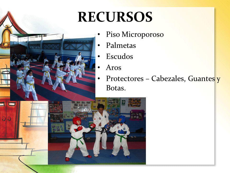RECURSOS Piso Microporoso Palmetas Escudos Aros Protectores – Cabezales, Guantes y Botas.