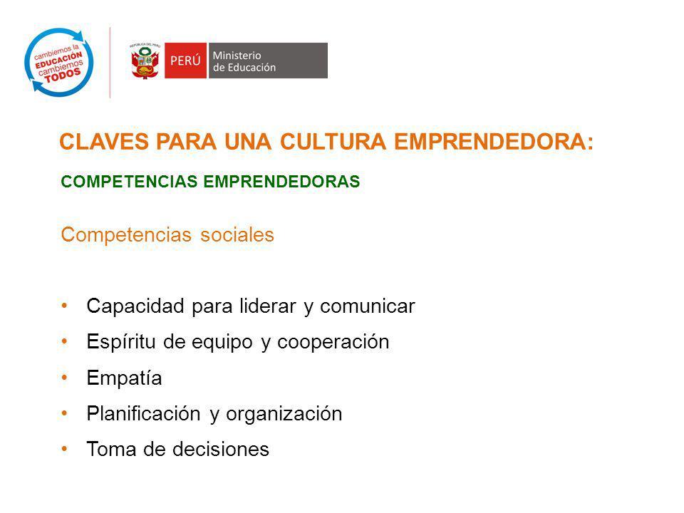 CLAVES PARA UNA CULTURA EMPRENDEDORA: COMPETENCIAS EMPRENDEDORAS Competencias sociales Capacidad para liderar y comunicar Espíritu de equipo y cooperación Empatía Planificación y organización Toma de decisiones