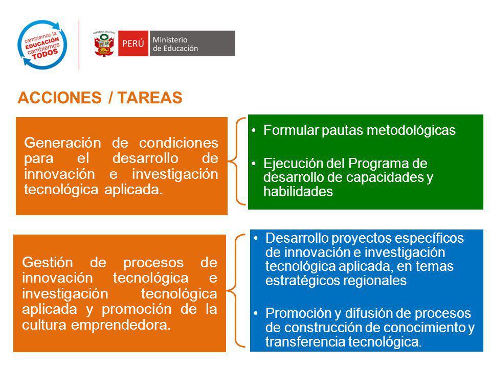 Generación de condiciones para el desarrollo de innovación e investigación tecnológica aplicada.