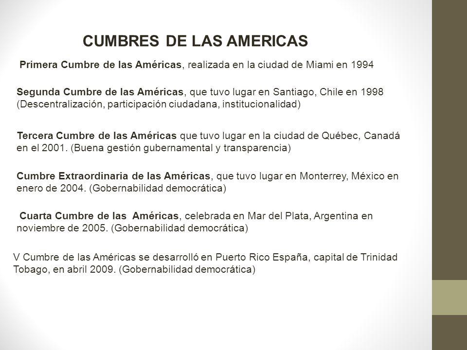 Primera Cumbre de las Américas, realizada en la ciudad de Miami en 1994 Segunda Cumbre de las Américas, que tuvo lugar en Santiago, Chile en 1998 (Des