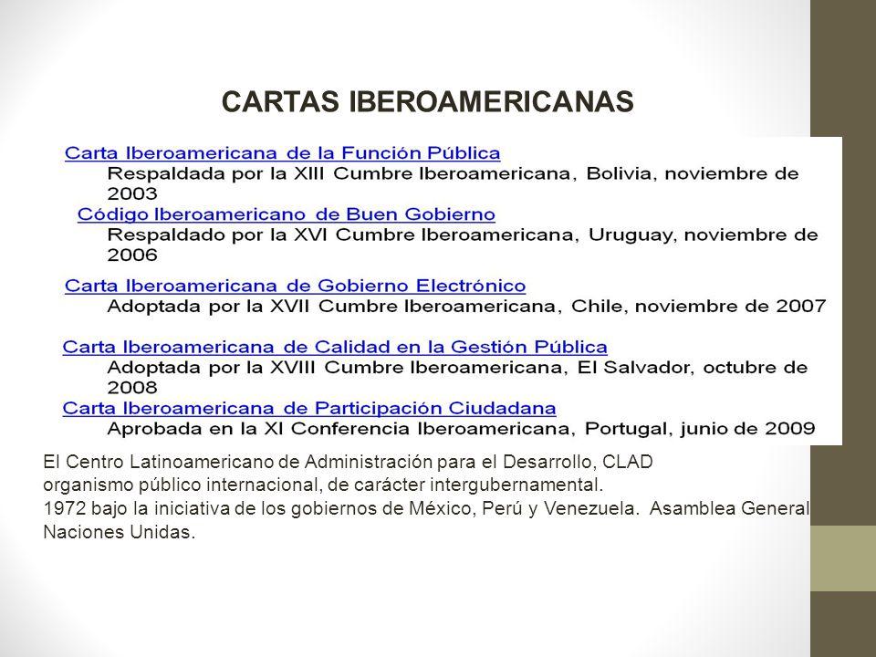 El Centro Latinoamericano de Administración para el Desarrollo, CLAD organismo público internacional, de carácter intergubernamental. 1972 bajo la ini