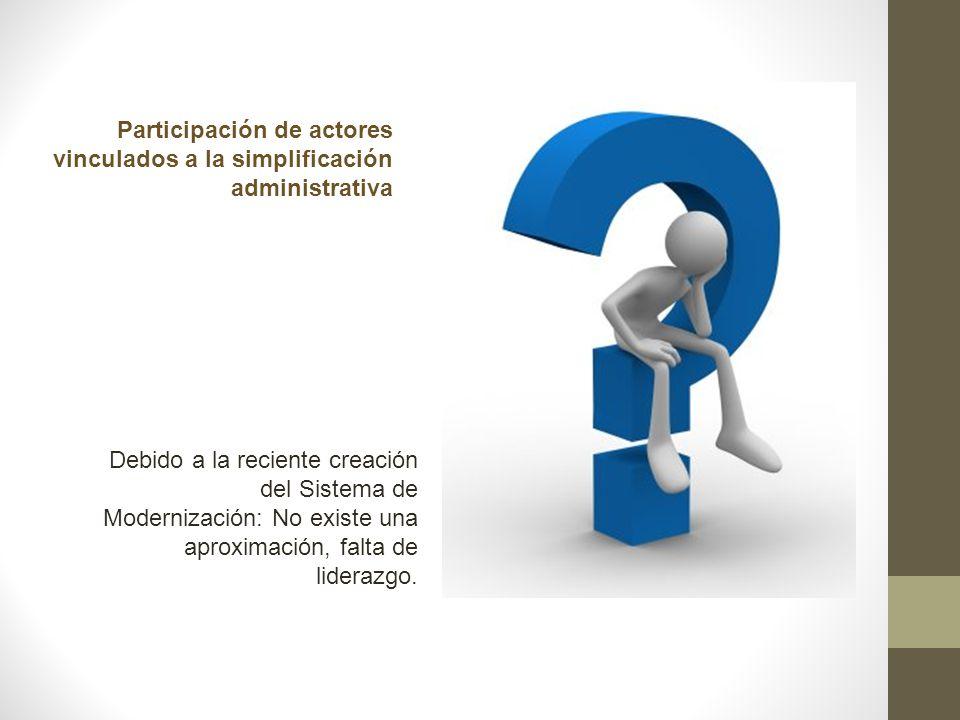 Participación de actores vinculados a la simplificación administrativa Debido a la reciente creación del Sistema de Modernización: No existe una aprox