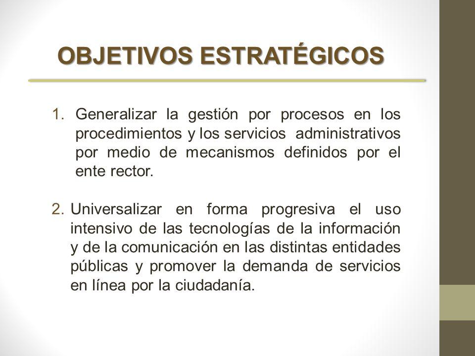 OBJETIVOS ESTRATÉGICOS 1.Generalizar la gestión por procesos en los procedimientos y los servicios administrativos por medio de mecanismos definidos p