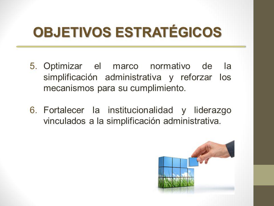 OBJETIVOS ESTRATÉGICOS 5.Optimizar el marco normativo de la simplificación administrativa y reforzar los mecanismos para su cumplimiento. 6.Fortalecer