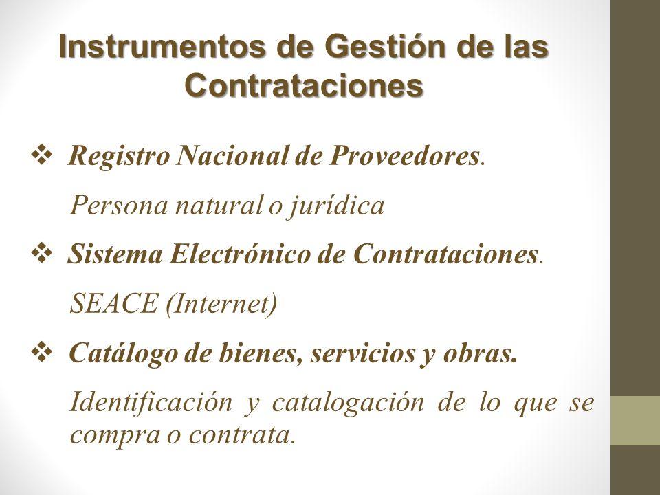Instrumentos de Gestión de las Contrataciones Registro Nacional de Proveedores. Persona natural o jurídica Sistema Electrónico de Contrataciones. SEAC