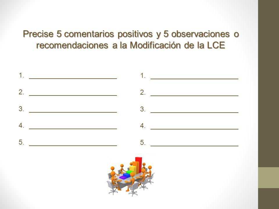 Precise 5 comentarios positivos y 5 observaciones o recomendaciones a la Modificación de la LCE 1._______________________ 2._______________________ 3.