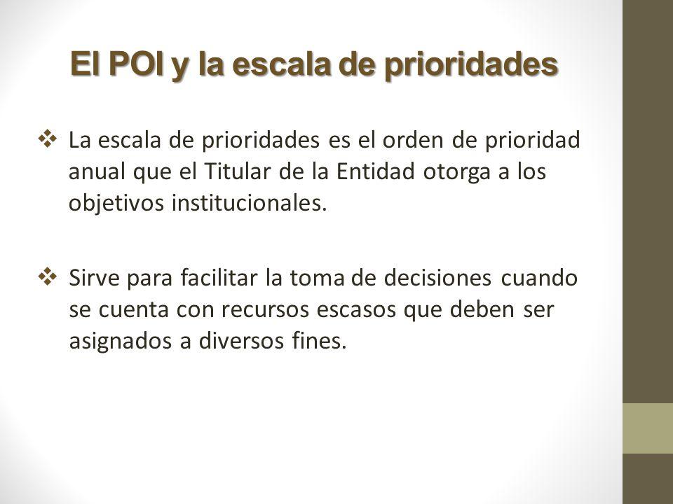El POI y la escala de prioridades La escala de prioridades es el orden de prioridad anual que el Titular de la Entidad otorga a los objetivos instituc