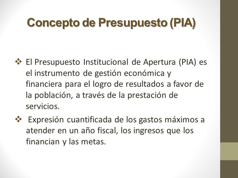 Concepto de Presupuesto (PIA) El Presupuesto Institucional de Apertura (PIA) es el instrumento de gestión económica y financiera para el logro de resu