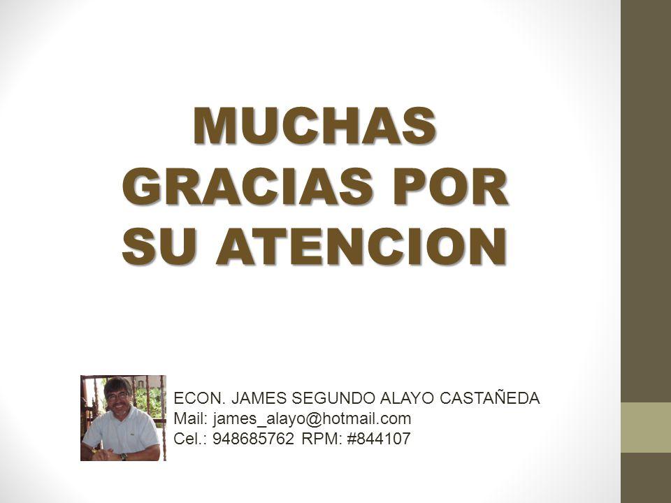 MUCHAS GRACIAS POR SU ATENCION ECON. JAMES SEGUNDO ALAYO CASTAÑEDA Mail: james_alayo@hotmail.com Cel.: 948685762 RPM: #844107