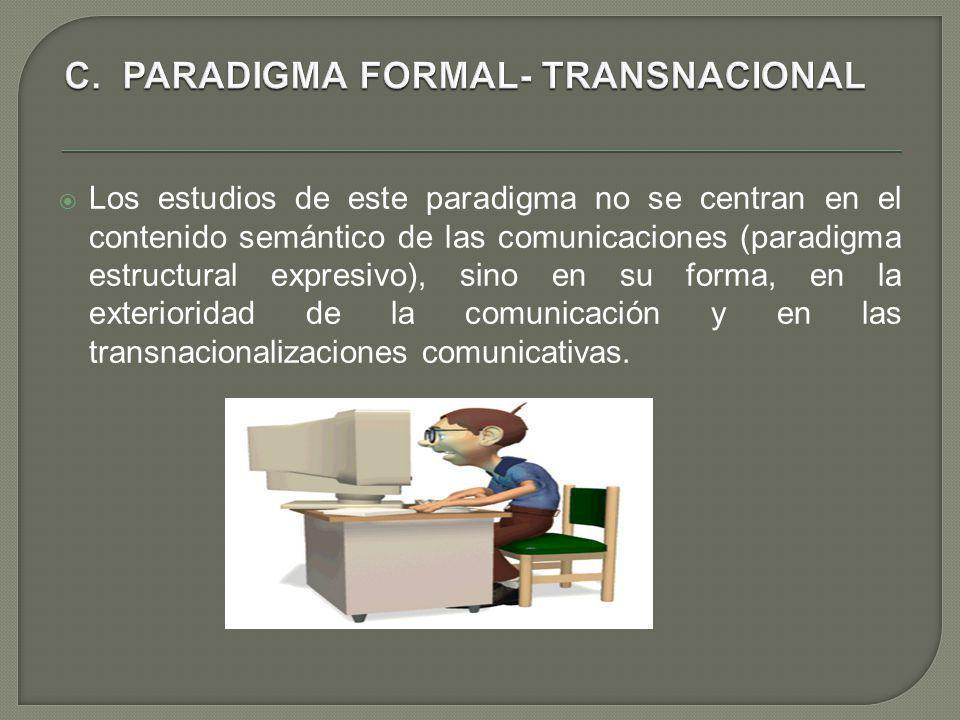 Los estudios de este paradigma no se centran en el contenido semántico de las comunicaciones (paradigma estructural expresivo), sino en su forma, en l