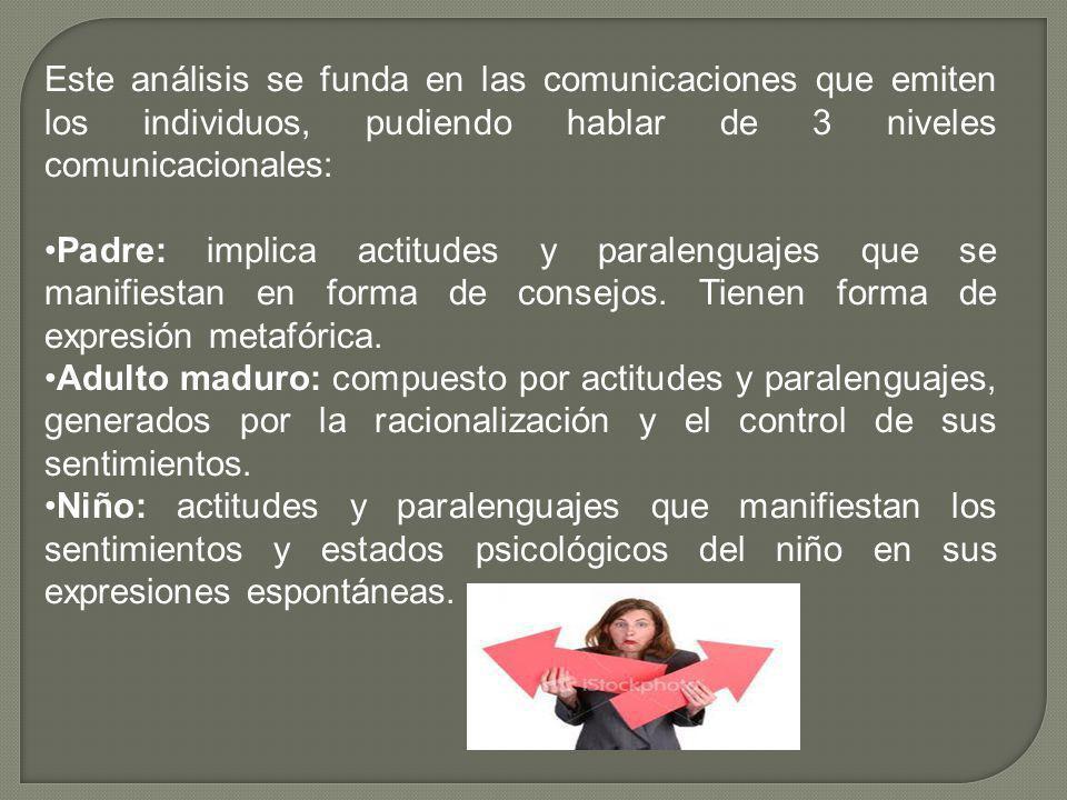 Este análisis se funda en las comunicaciones que emiten los individuos, pudiendo hablar de 3 niveles comunicacionales: Padre: implica actitudes y para
