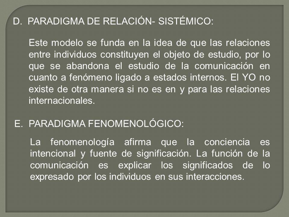 D. PARADIGMA DE RELACIÓN- SISTÉMICO: Este modelo se funda en la idea de que las relaciones entre individuos constituyen el objeto de estudio, por lo q