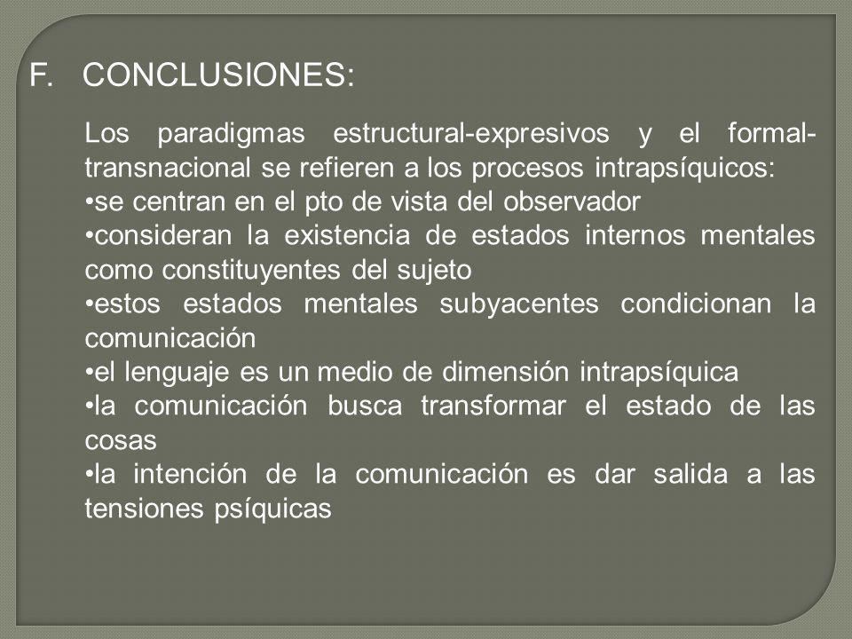F. CONCLUSIONES: Los paradigmas estructural-expresivos y el formal- transnacional se refieren a los procesos intrapsíquicos: se centran en el pto de v