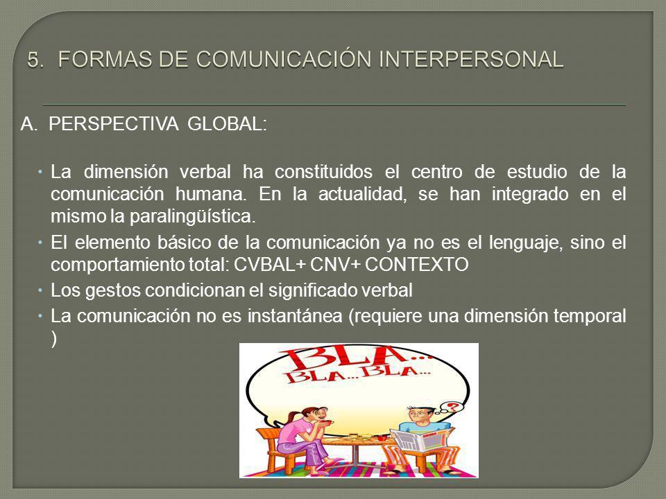 A. PERSPECTIVA GLOBAL: La dimensión verbal ha constituidos el centro de estudio de la comunicación humana. En la actualidad, se han integrado en el mi