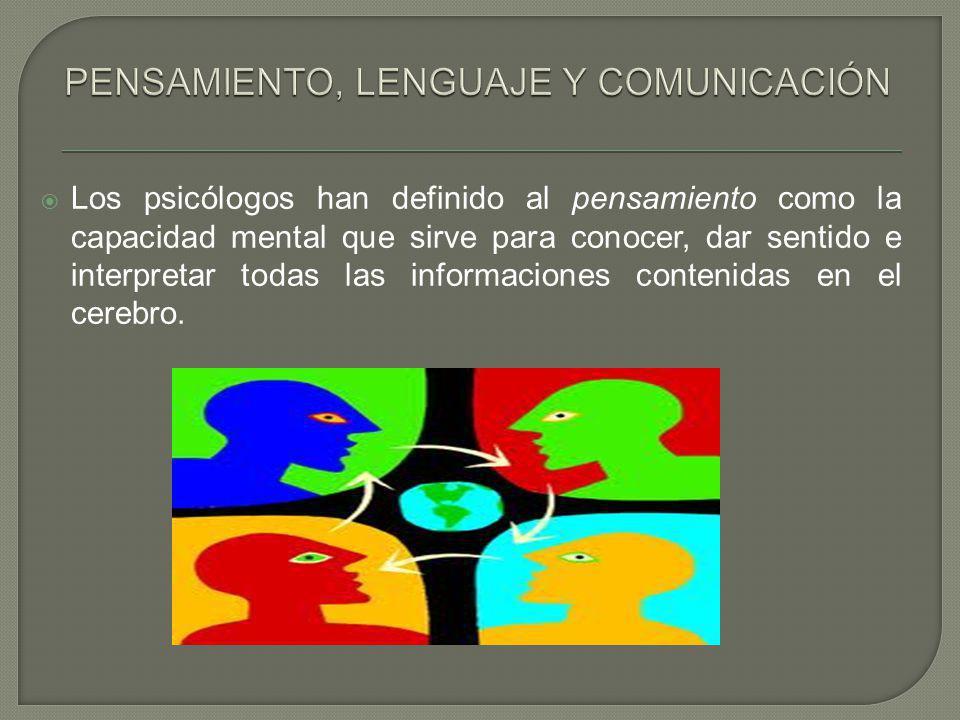 Los psicólogos han definido al pensamiento como la capacidad mental que sirve para conocer, dar sentido e interpretar todas las informaciones contenid
