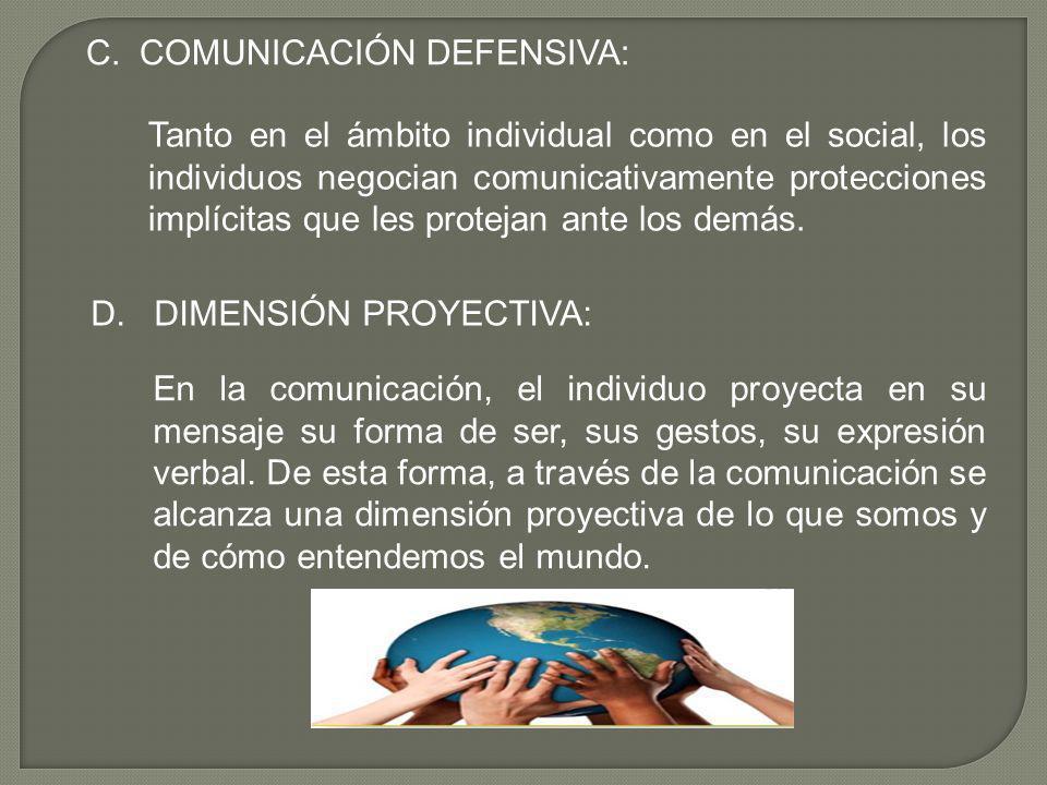 C. COMUNICACIÓN DEFENSIVA: Tanto en el ámbito individual como en el social, los individuos negocian comunicativamente protecciones implícitas que les
