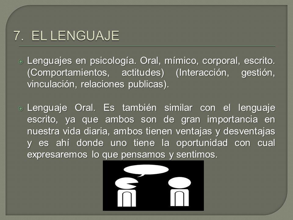 Lenguajes en psicología. Oral, mímico, corporal, escrito. (Comportamientos, actitudes) (Interacción, gestión, vinculación, relaciones publicas). Lengu