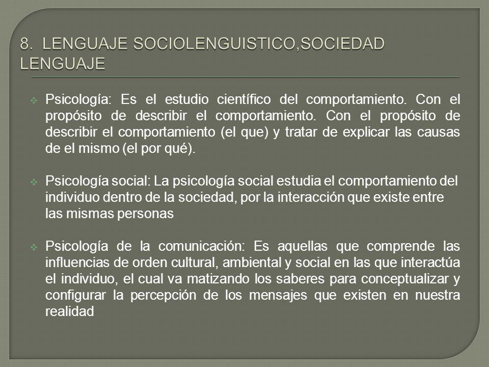Psicología: Es el estudio científico del comportamiento. Con el propósito de describir el comportamiento. Con el propósito de describir el comportamie