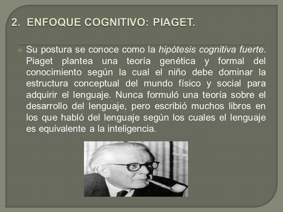 Su postura se conoce como la hipótesis cognitiva fuerte. Piaget plantea una teoría genética y formal del conocimiento según la cual el niño debe domin