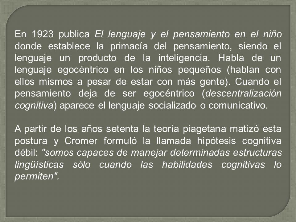 En 1923 publica El lenguaje y el pensamiento en el niño donde establece la primacía del pensamiento, siendo el lenguaje un producto de la inteligencia