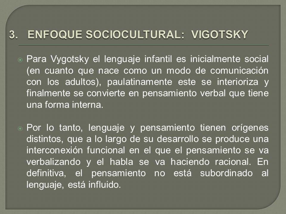 Para Vygotsky el lenguaje infantil es inicialmente social (en cuanto que nace como un modo de comunicación con los adultos), paulatinamente este se in