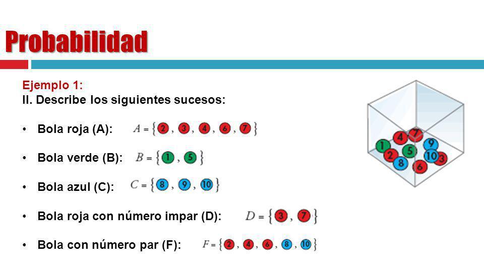 Probabilidad Ejemplo 1: II. Describe los siguientes sucesos: Bola roja (A): Bola verde (B): Bola azul (C): Bola roja con número impar (D): Bola con nú