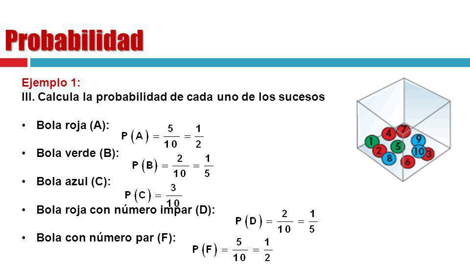 Probabilidad Ejemplo 1: III. Calcula la probabilidad de cada uno de los sucesos anteriores Bola roja (A): Bola verde (B): Bola azul (C): Bola roja con