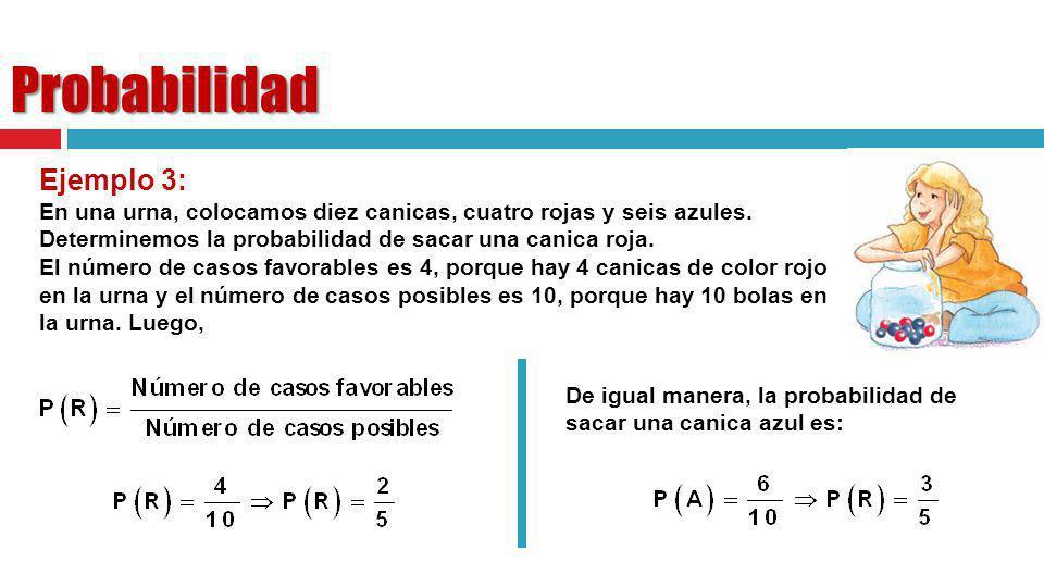 Ejemplo 3: En una urna, colocamos diez canicas, cuatro rojas y seis azules. Determinemos la probabilidad de sacar una canica roja. El número de casos